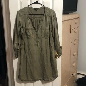 Express Mid Sleeve Utility Shirt Dress